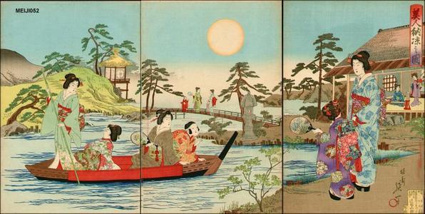渡辺延一: Beauties in a garden - Japanese Art Open Database
