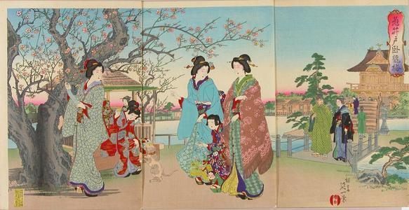 渡辺延一: Crouching dragon plum at Kameido Shrine — 亀井戸臥龍梅 - Japanese Art Open Database