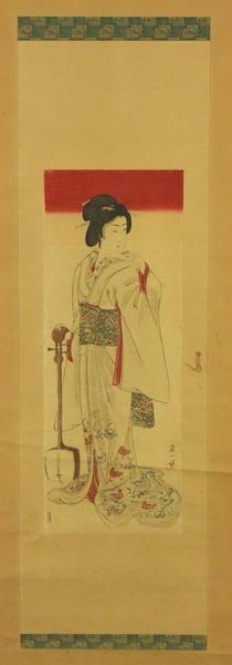 Watanabe Nobukazu: Geisha and Shamisen - Japanese Art Open Database