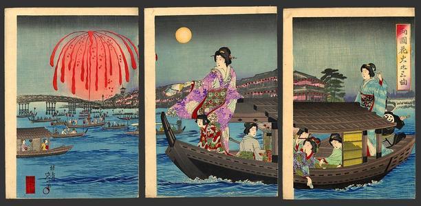 Watanabe Nobukazu: National flowers cooling off on the Sumidagawa - Japanese Art Open Database