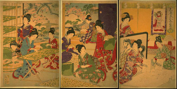 Watanabe Nobukazu: Palace Ladies in Waiting - Sericulture Scene — 大奥美人養蚕之図 - Japanese Art Open Database