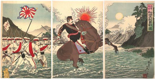 渡辺延一: Picture of the courageous fight of Captain Matsusaki during the Song-hwan battle - Japanese Art Open Database