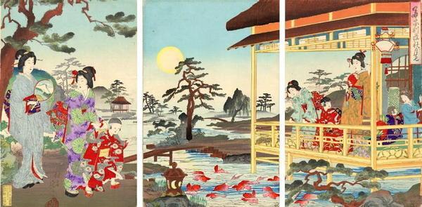 渡辺延一: Playing in the garden - Japanese Art Open Database