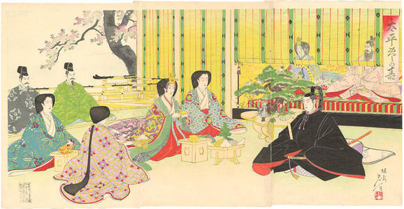 Watanabe Nobukazu: The betrothal of Prince Yoshihito, son of Emperor Meiji - Japanese Art Open Database