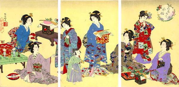 Watanabe Nobukazu: Young Women Relaxing - Japanese Art Open Database