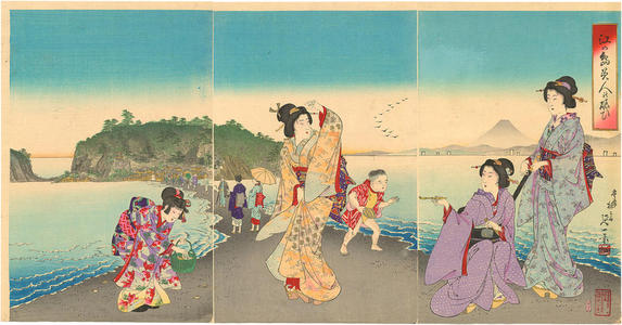 渡辺延一: View of Enoshima Island — 江ノ島の図 - Japanese Art Open Database