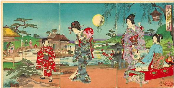 渡辺延一: Women at a moon-viewing in a garden - Japanese Art Open Database