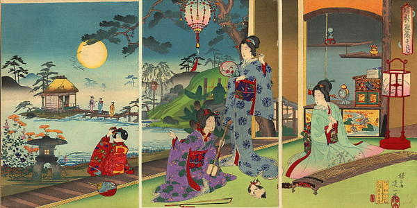 Watanabe Nobukazu: Geese under the Moon - Japanese Art Open Database