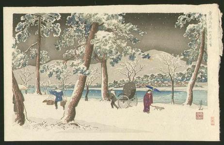 Nomura Yoshimitsu: Snow on the Bank of Kamogawa — 加茂堤の雪 - Japanese Art Open Database