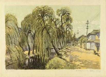 織田一磨: A willow tree in Niigata - Japanese Art Open Database