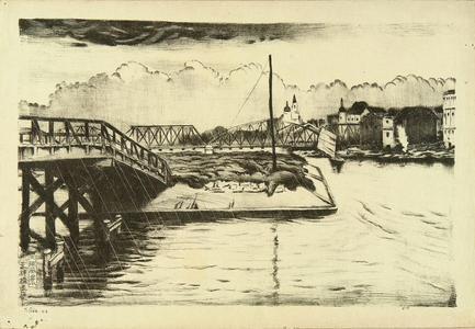 織田一磨: Distant view of Tenjin Bridge - Japanese Art Open Database