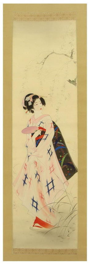 Gekko Ohashi: Bijin With Fan Under Willow - Japanese Art Open Database
