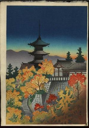 向陽: Autumn at Kiyomizu Temple in Kyoto - Japanese Art Open Database