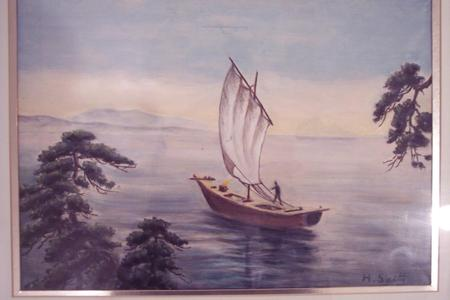 Saito Hodo: Sailboat on the Ocean - Japanese Art Open Database