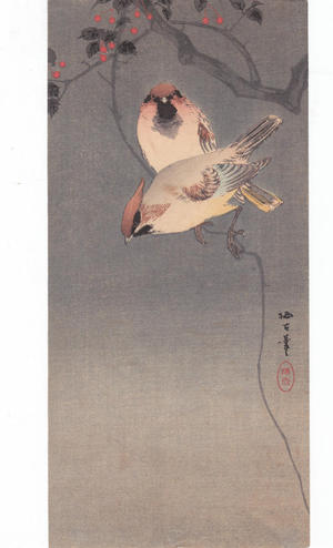 静湖: Birds and Nandina - Japanese Art Open Database