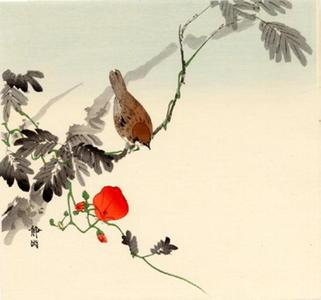 静湖: Sparrow and Morning Glory - Japanese Art Open Database