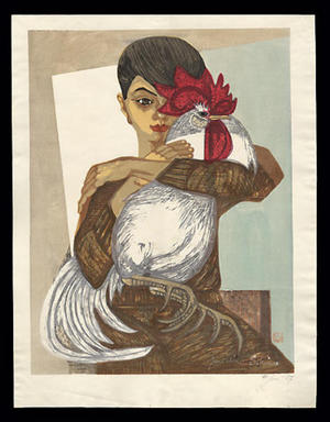 Sekino Junichiro: Katsuko, holding a rooster - Japanese Art Open Database