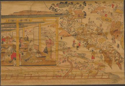 Nishimura Shigenaga: Cherry Blossom Viewing as Ikenohata , Ueno — 上野池のはた桜乃花見景 - Japanese Art Open Database