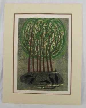 Shima Tamami — 島 珠実: Unknown- trees and birds - Japanese Art Open Database