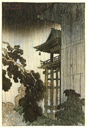 Ito Shinsui: Night Rain at Mii Temple - Japanese Art Open Database