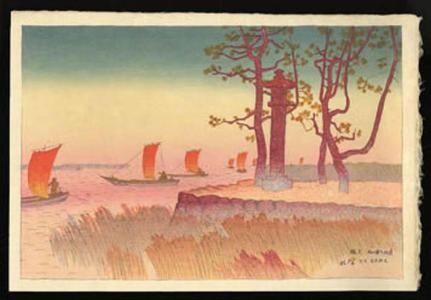 Ito Shinsui: Sunset Glow at Yabashi - Japanese Art Open Database