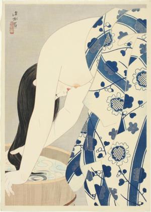 伊東深水: Washing Her Hair - Japanese Art Open Database