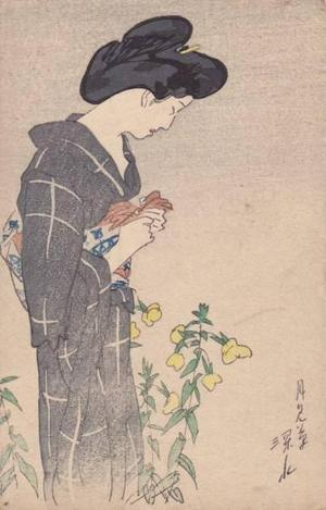 伊東深水: Evening primrose — 月見草 - Japanese Art Open Database
