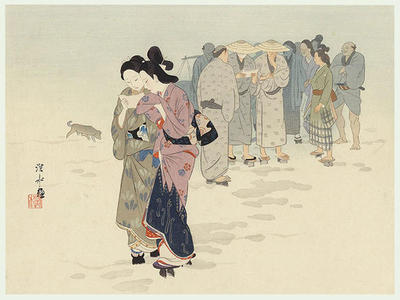 Ito Shinsui: Breaking News - Ako Roshi Vendetta Accomplished - Japanese Art Open Database
