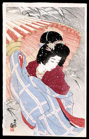 伊東深水: Snowstorm- Blizzard- fubuki- - Japanese Art Open Database
