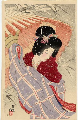 伊東深水: Snowstorm- Blizzard- fubuki- - Japanese Art Open Database