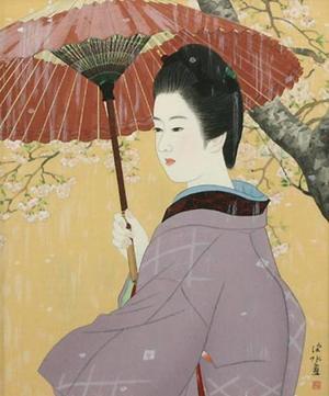 伊東深水: Spring Rain — 春雨 - Japanese Art Open Database