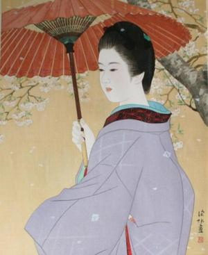 伊東深水: Spring Rain — 春雨 - Japanese Art Open Database