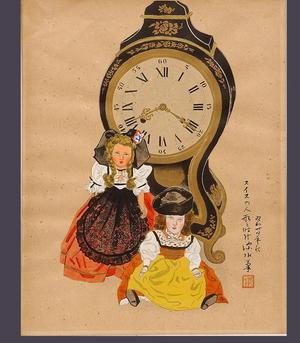 伊東深水: Swiss Doll and Clock — スイスの人形と時計 - Japanese Art Open Database
