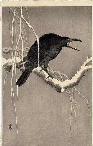 Shoson Ohara: Cawing Crow on Snowy Branch - Japanese Art Open Database