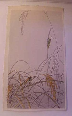 Shoson Ohara: Crickets In Rice - Japanese Art Open Database