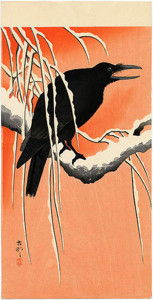 Shoson Ohara: Crow and snow - Japanese Art Open Database