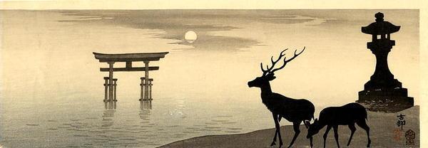 Shoson Ohara: Deer and Torii - Japanese Art Open Database