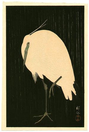 Shoson Ohara: Egret on Rainy Night- Heron - Japanese Art Open Database