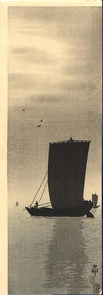 Shoson Ohara: Fishing at Twilight - Japanese Art Open Database