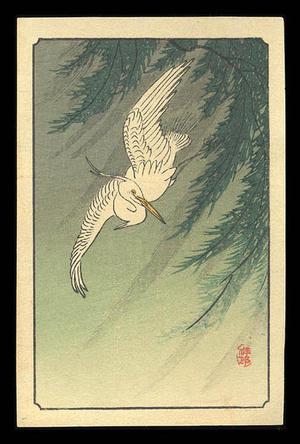 Shoson Ohara: Flying White Egret and Willow Branches - Japanese Art Open Database