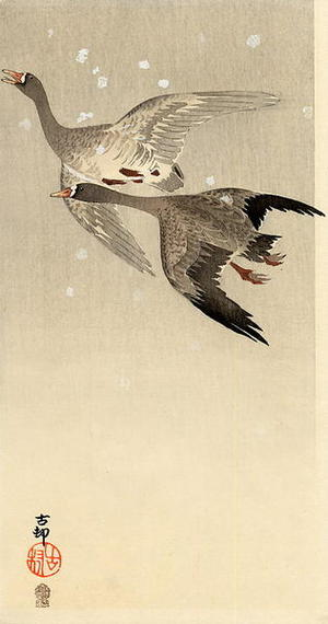 Shoson Ohara: Geese flying in snow - Japanese Art Open Database