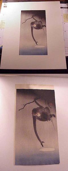 Shoson Ohara: Monkey Reaching for Moon - Japanese Art Open Database