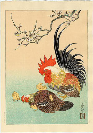 Shoson Ohara: Rooster, Hen and Chicks - Japanese Art Open Database