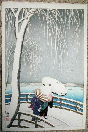 Shoson Ohara: Snow on Willow Bridge - Japanese Art Open Database