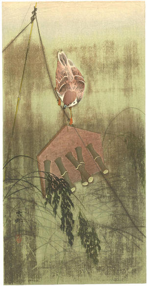 Shoson Ohara: Tree sparrow on a wind-chime scarecrow - Japanese Art Open Database
