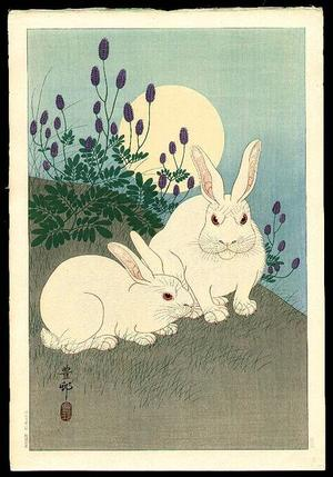 Shoson Ohara: Two Rabbits and Sun - Japanese Art Open Database