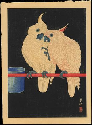 Shoson Ohara: Two White Cockatoos on Red Bar- B - Japanese Art Open Database