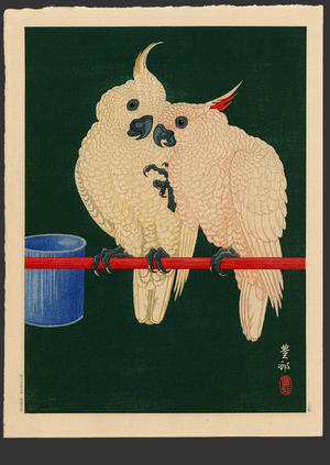 Shoson Ohara: Two White Cockatoos on Red Bar- B - Japanese Art Open Database