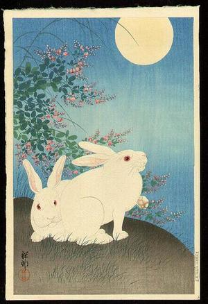 Shoson Ohara: Two rabbits - Japanese Art Open Database