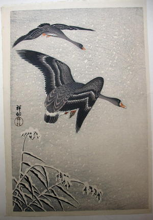Shoson Ohara: geese flying - Japanese Art Open Database